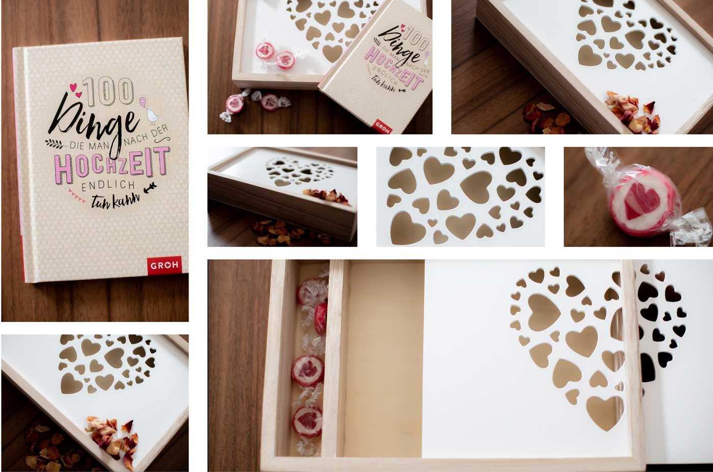 Hochzeit Übergabe mit Schachtel und Bonbons