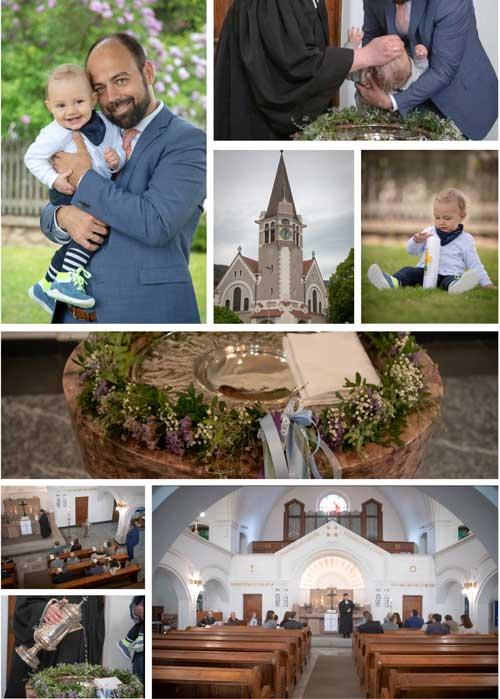 Taufe Collage Kirche Taufbecken Taufkerze Zeremonie
