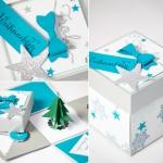 Gutscheine Überraschungsbox handgefertigt für Weihnachten in hellblau